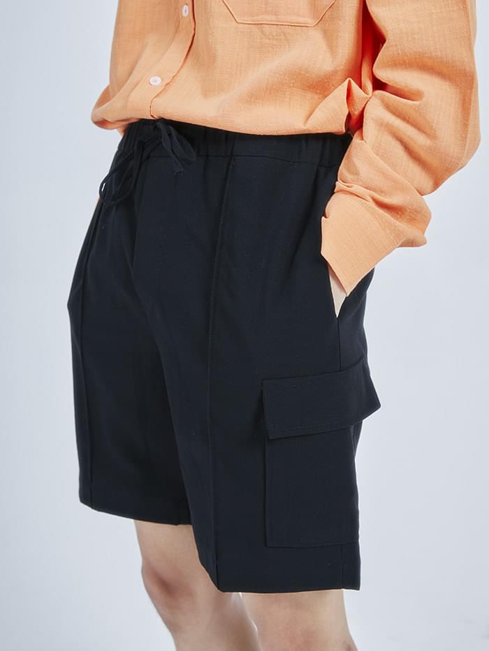 pocket banding half slacks (2 color) - men