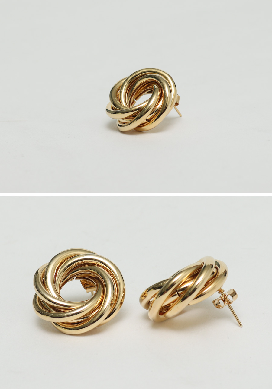 Gold twist circle earring_H