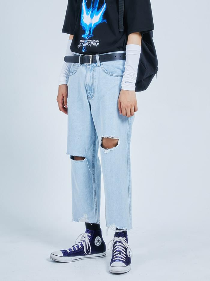 damage crop denim pants - men