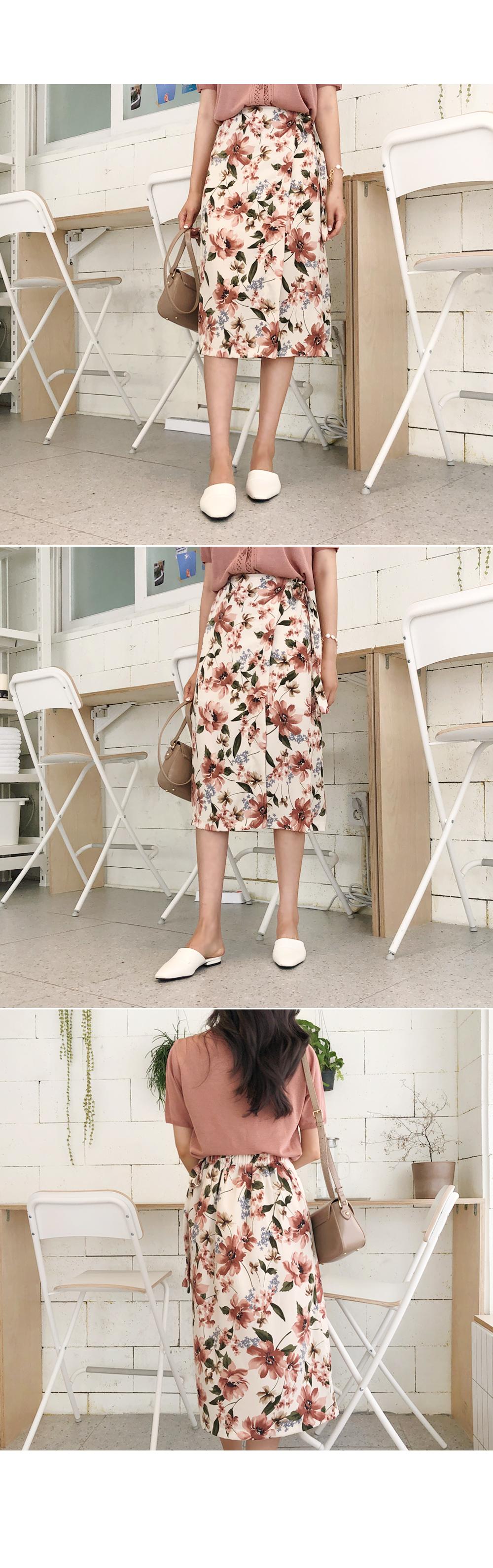 Big Flower Slit Skirt