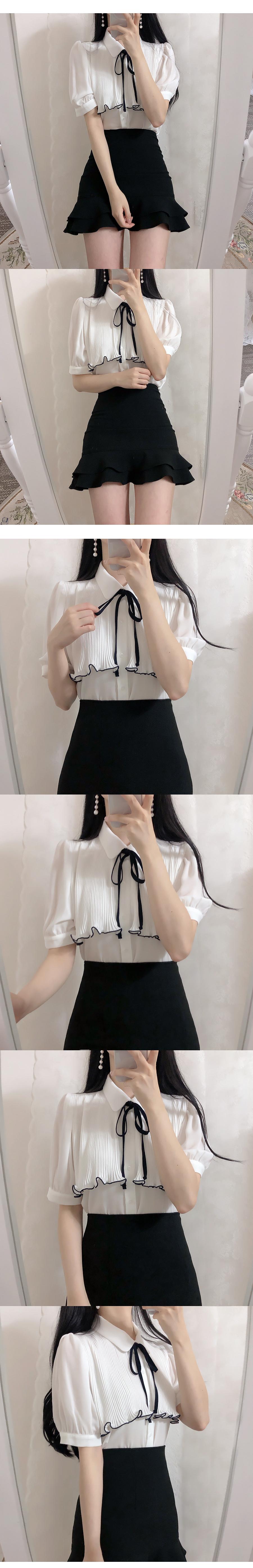 Sugar wrinkled ribbon blouse