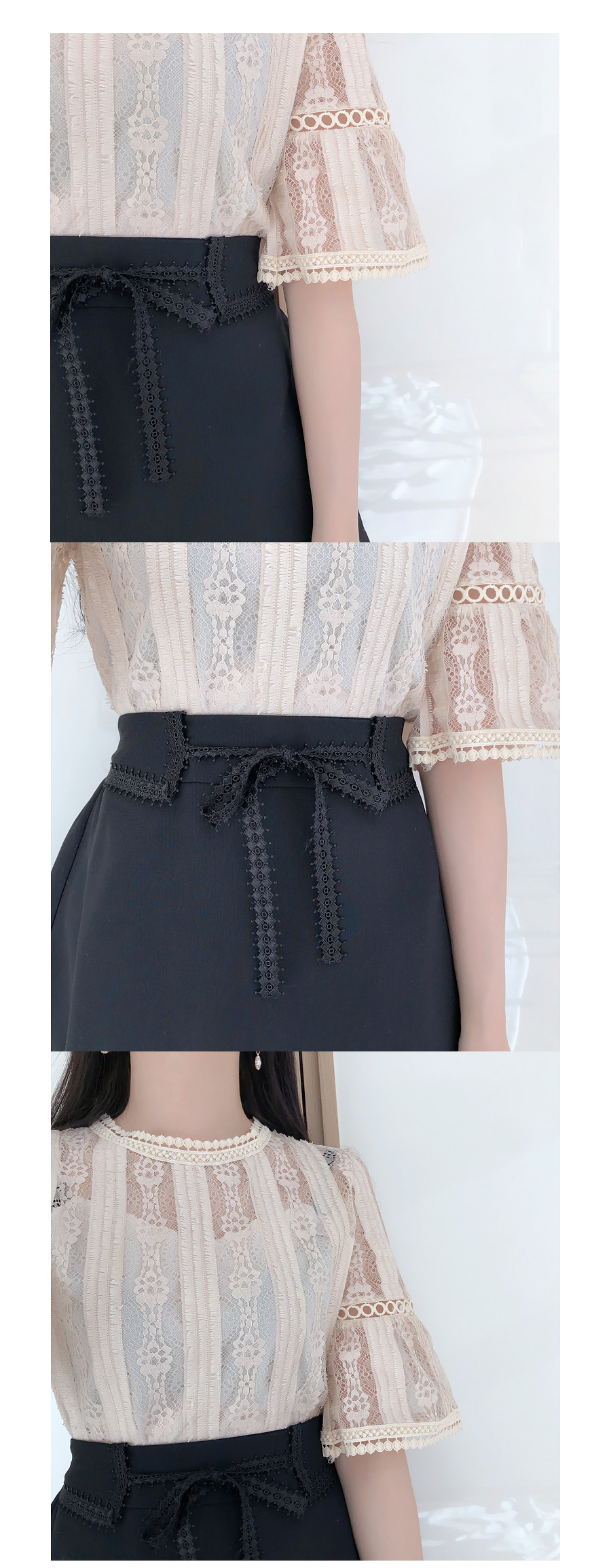 Discounts ♥ Short sleeve embroidery lace blouse