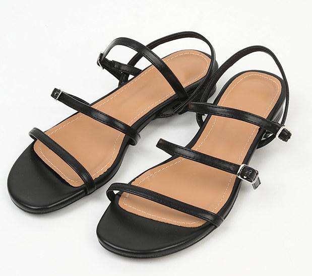 square toe cross strap sandal