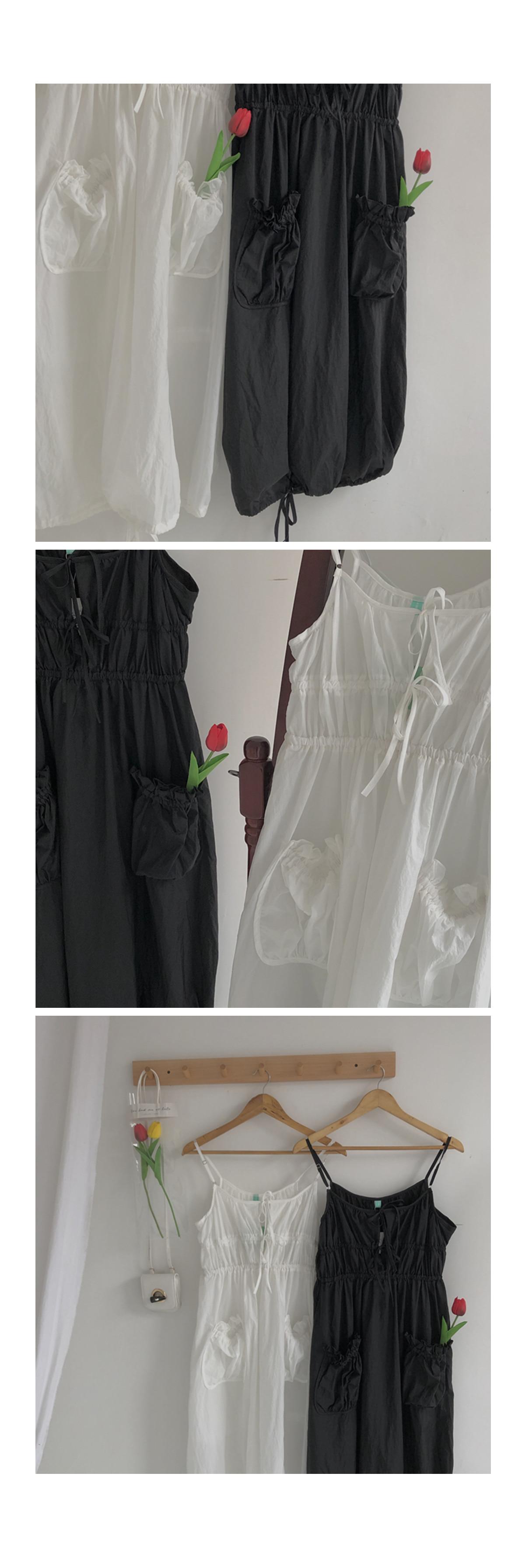 Shirring Pocket Palms Nash Long Dress