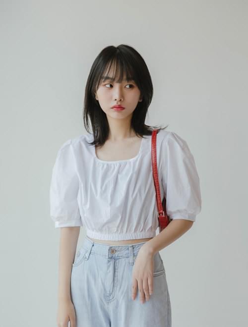 U neck crop blouse