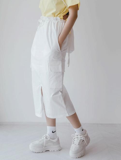 Pocket Front Skirt Long Skirt