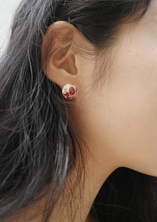 dry flowers ball earrings
