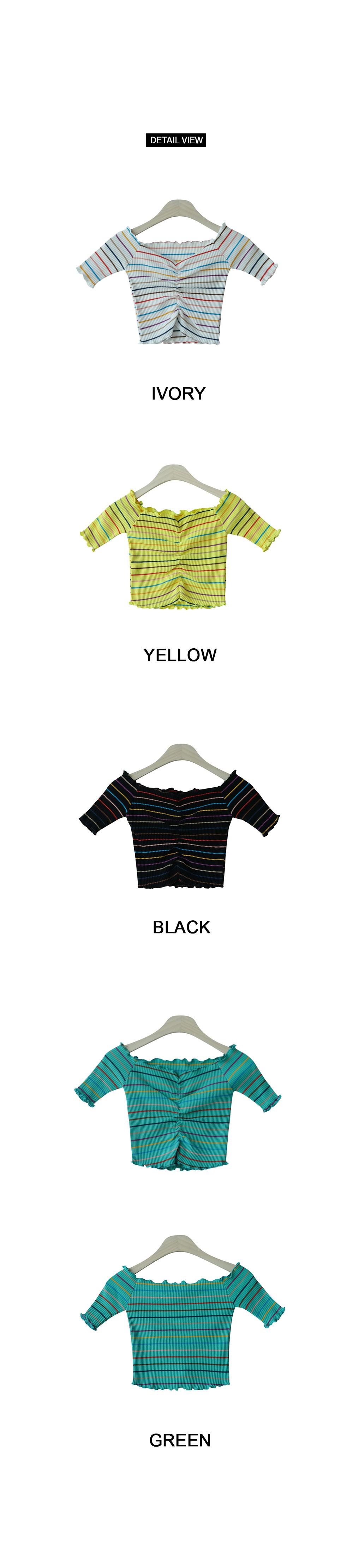 Shirring Crop Polo Shirt