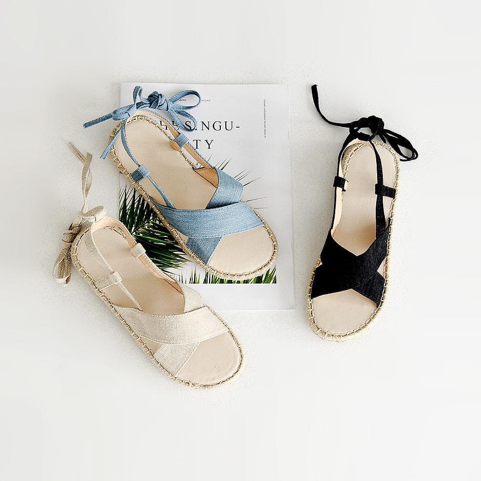 Velor strap sandals 2cm