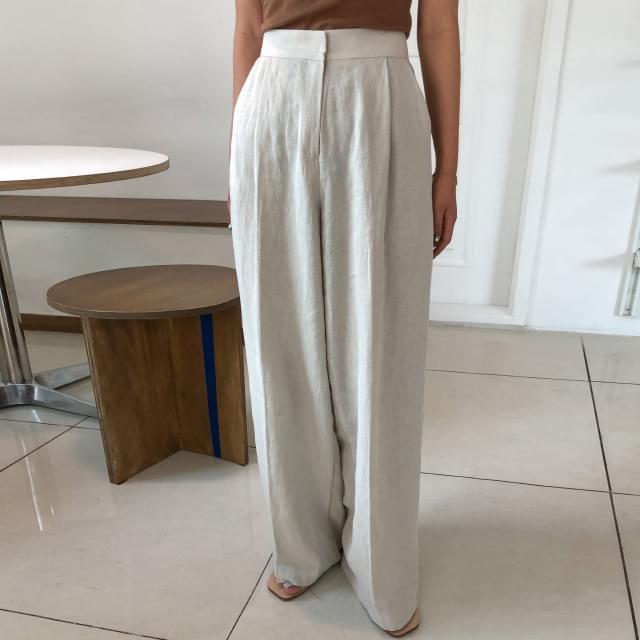Hidden Button Wide Linen Pants