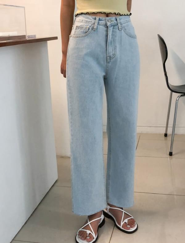 light blue cutting denim pants