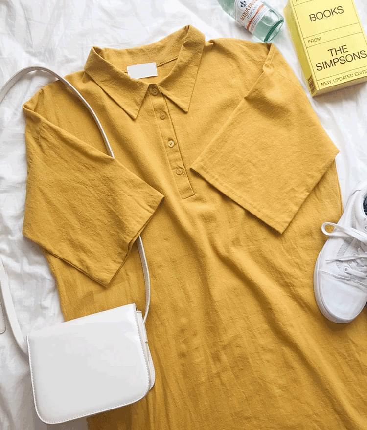 Linen color button dress