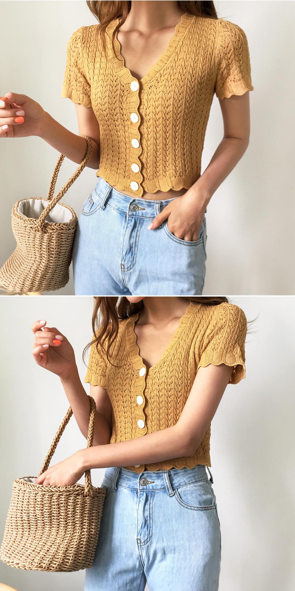 透かし編みスカラップ端クロップド半袖ニット