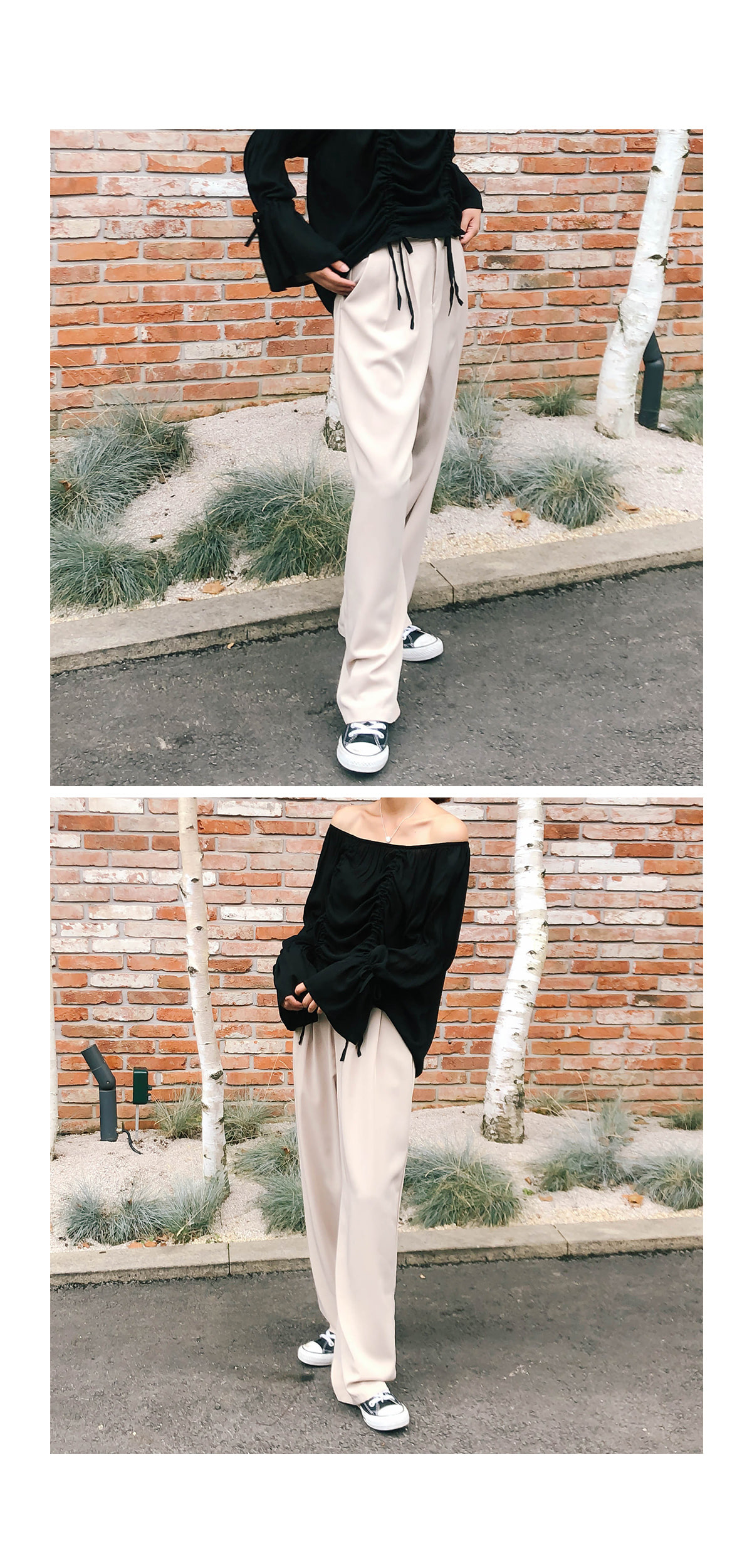 Pinch Wide Slacks Pants
