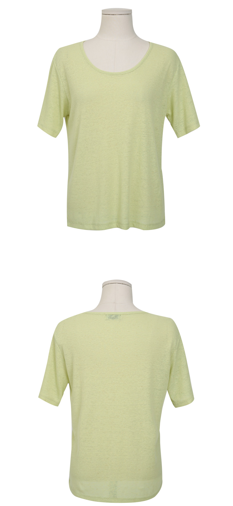 Linen deep u-neck T_Y (size : free)