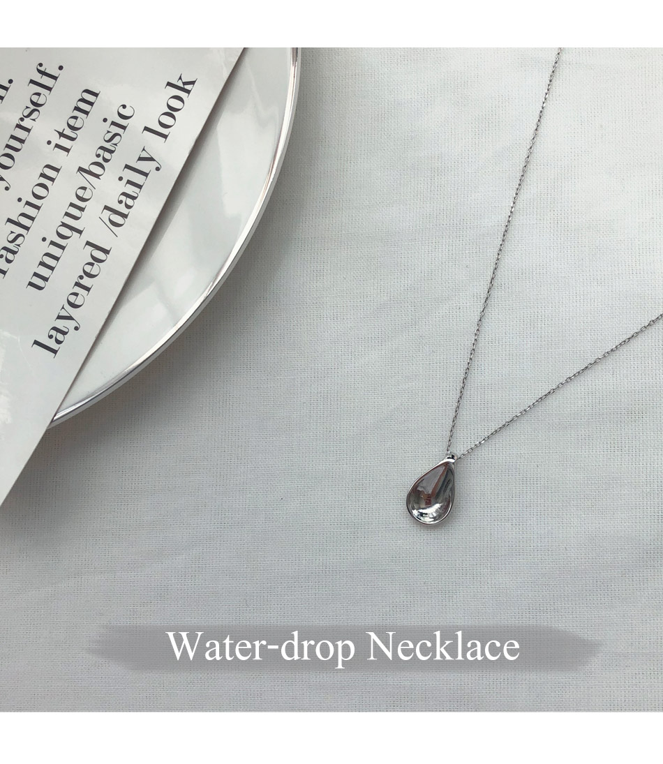 Silver Water Drop Necklace _H