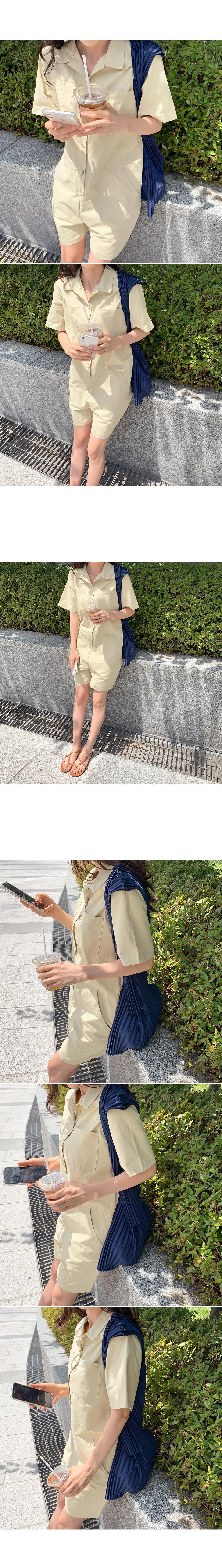 Color pocket jump suit _R
