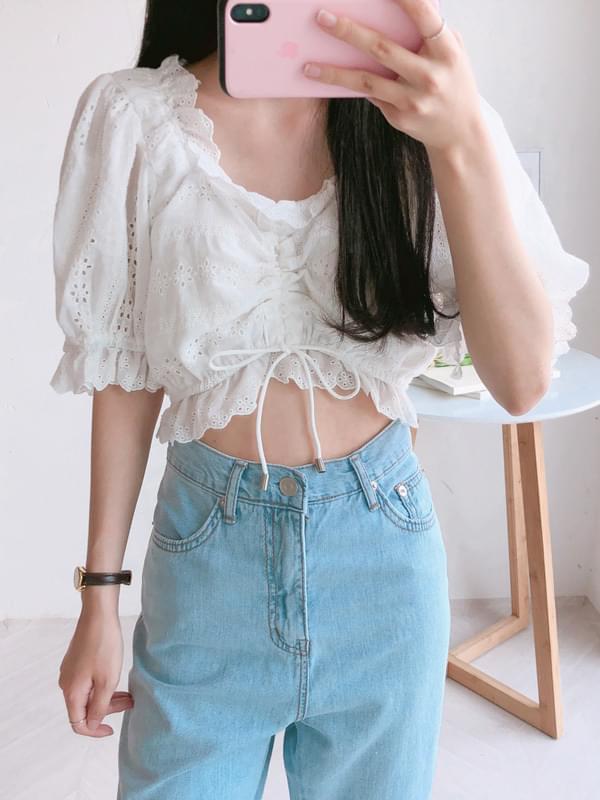 Mood punching crop blouse