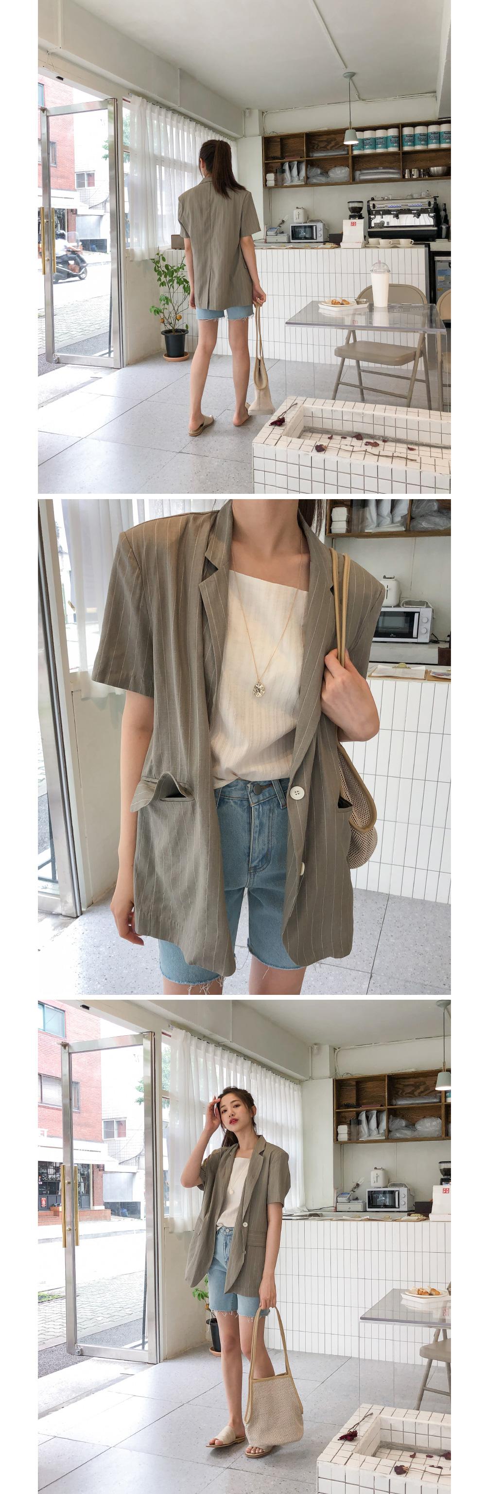 linen stripe two button jacket
