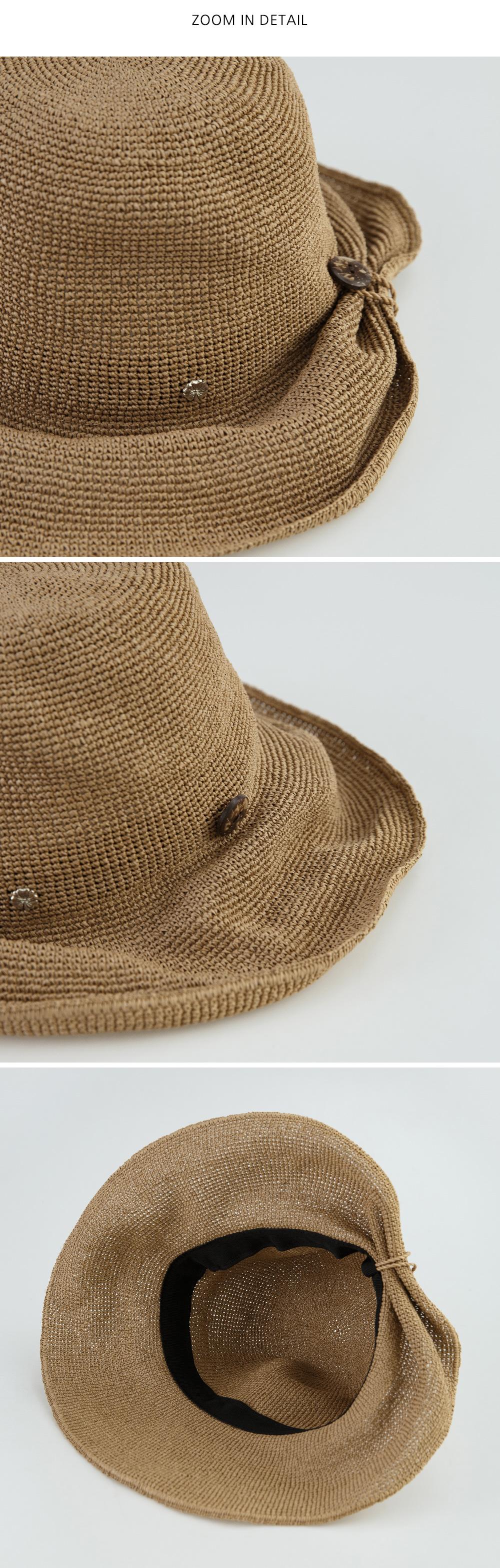 button detail bucket hat