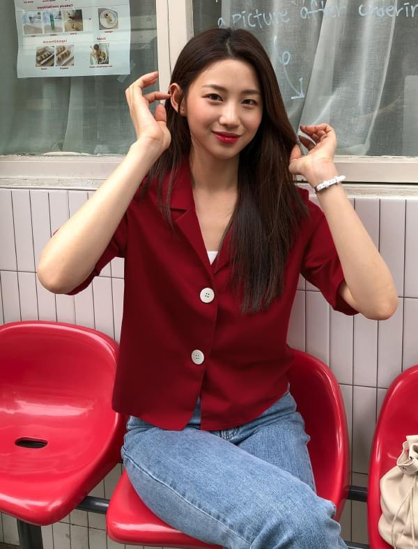 v-neck collar two button blouse