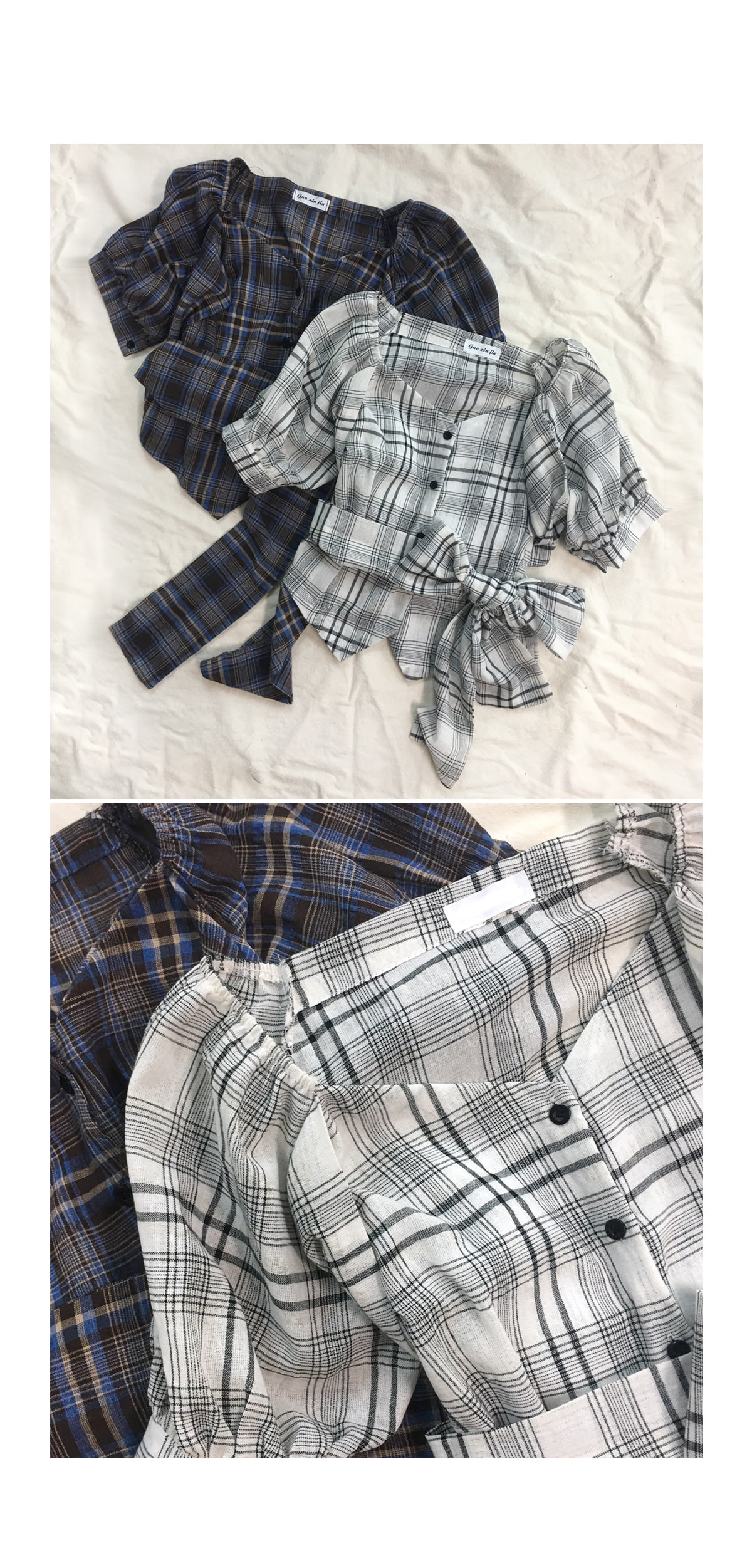 Checked creep blouse