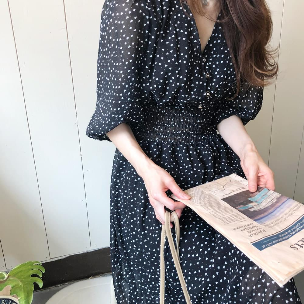 Love Pattern Chiffon Dress