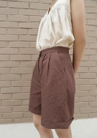 pintuck roll-up short pants (3colors)