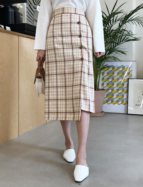 Sophisticated Button Check Skirt