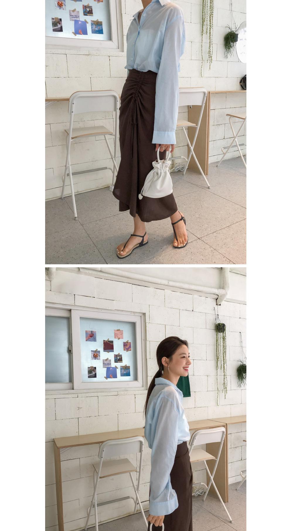unique shirring long skirt