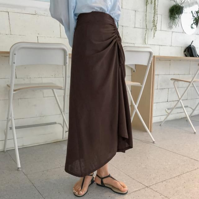 unique shirring long skirt