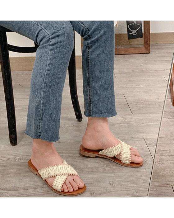 라탄 크로스 슬리퍼 shoes - 2color