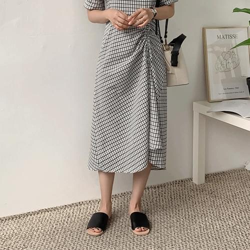 Loin check wrinkle long dress