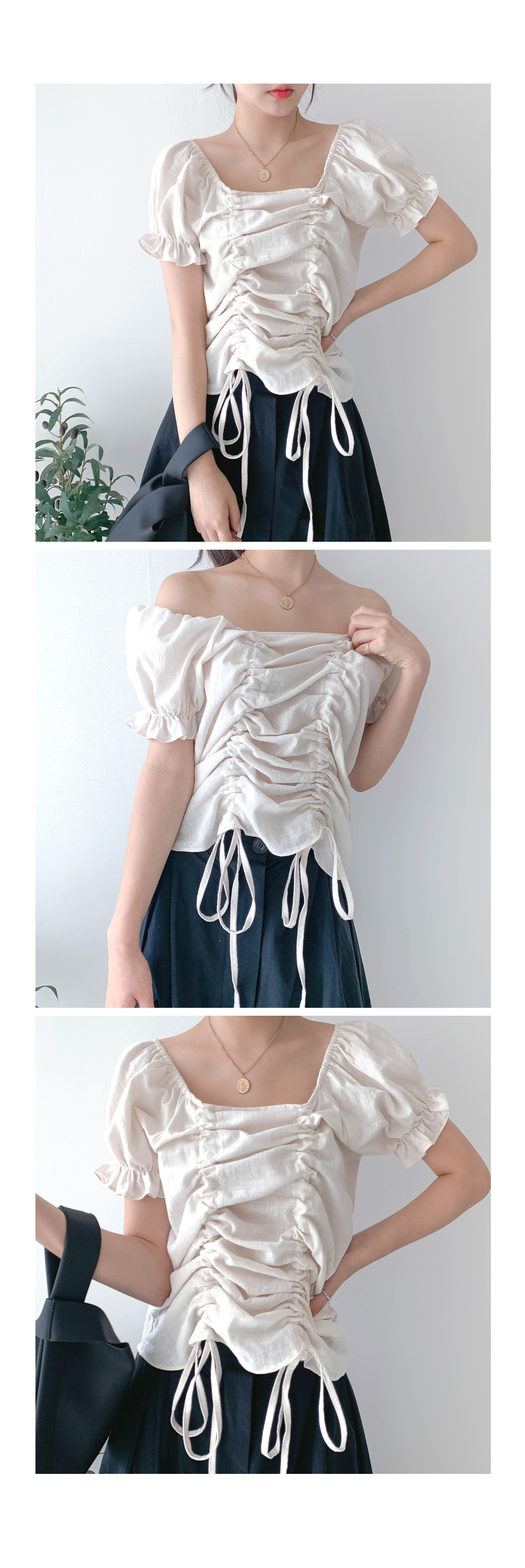 Cotton puffy shirring blouse