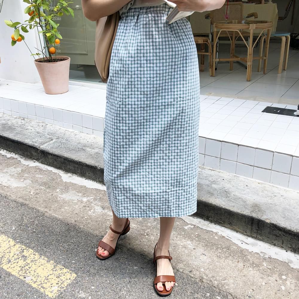 Blue Check Long Skirt