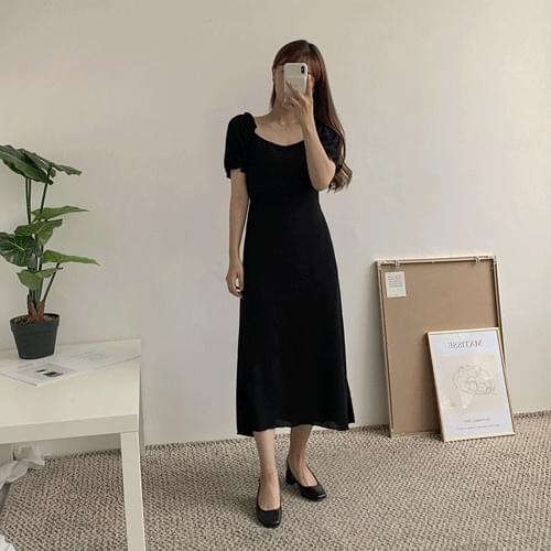 韓國空運 - 荷葉邊蓬袖綁帶長洋裝
