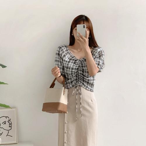 Open check string blouse