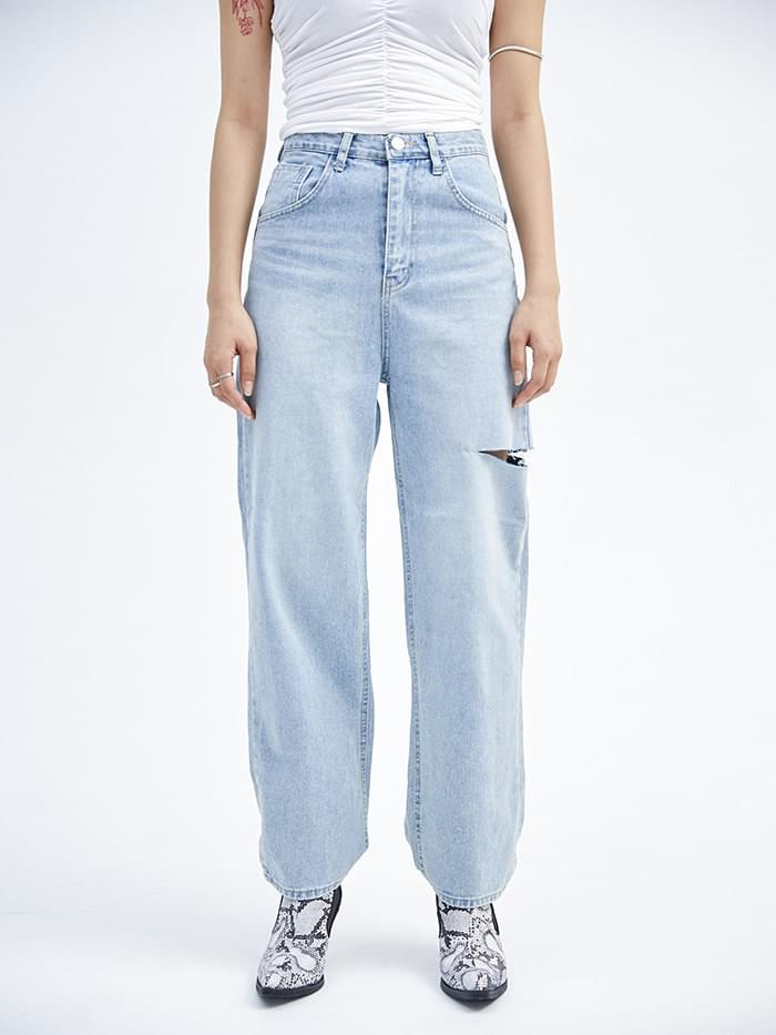thigh cut denim pants (2 color) - woman