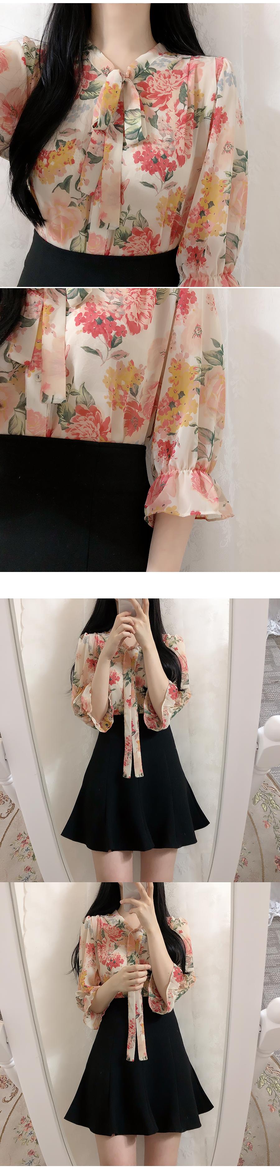 Hershey Flower Ribbon blouse