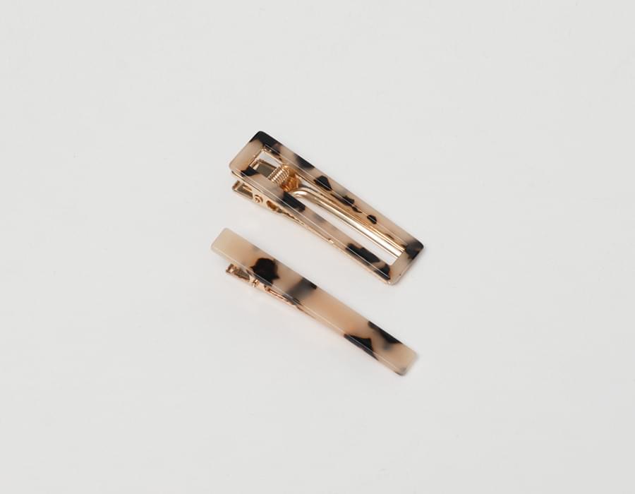 Leopard hair pin set_C