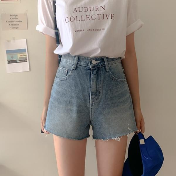 Remix denim shorts