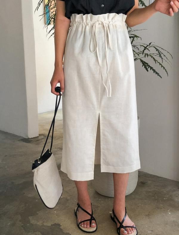 slit string linen skirt