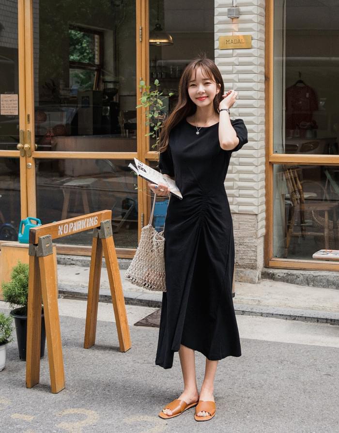 韓國空運 - Linen shearing dress 及膝洋裝