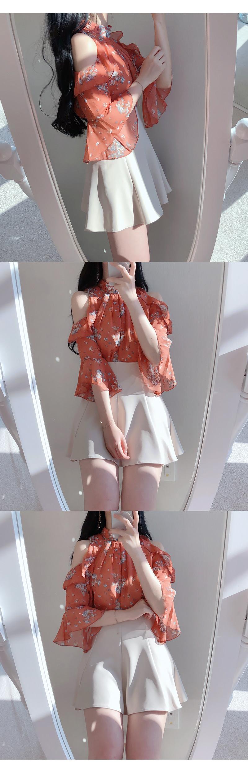 Order ♥ roman flower off shoulder ruffle bl