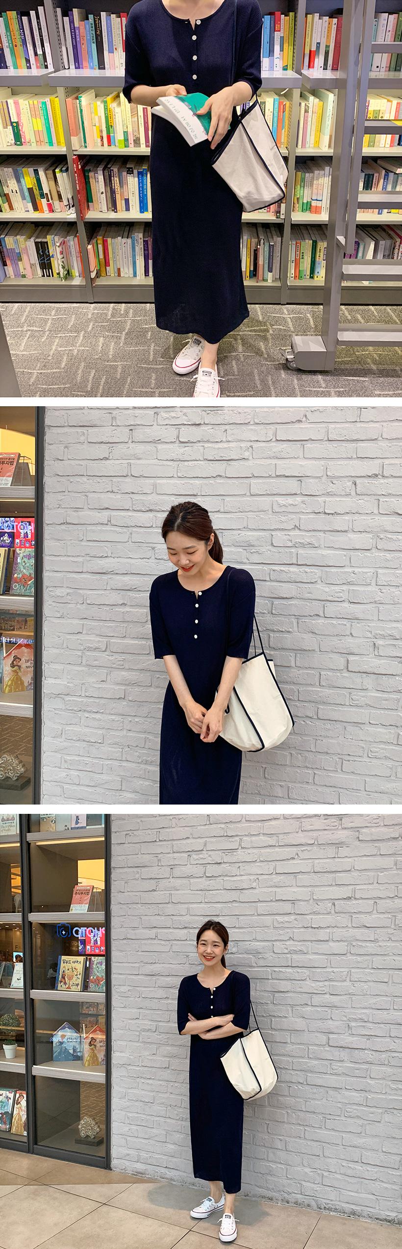 Button slim knit long ops_K