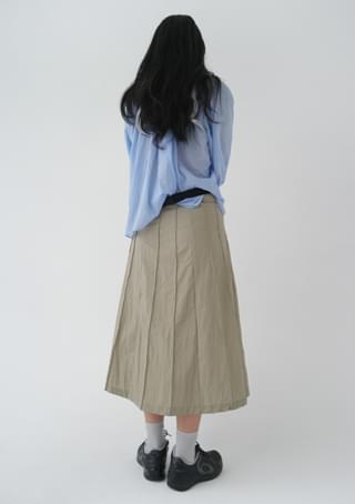 glossy pleats skirt (2colors)