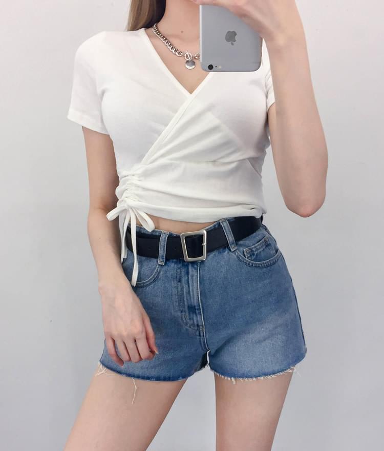 韓國空運 - Self-Tie Wrap Crop Top 短袖上衣
