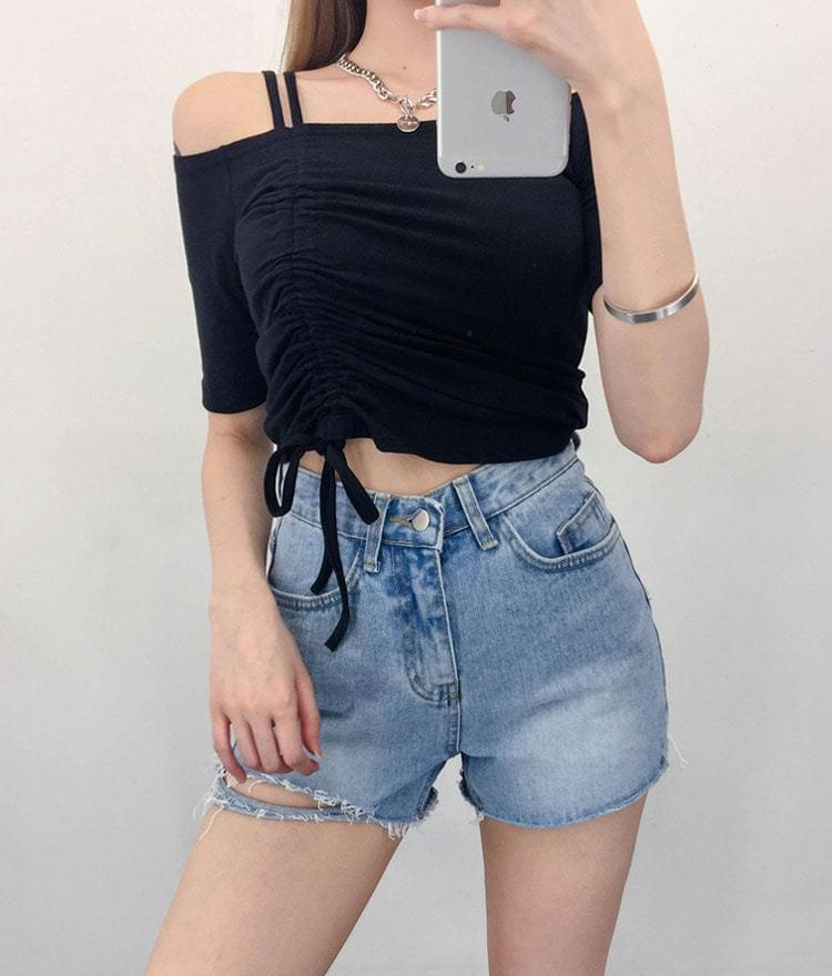 One Side Shirring Off-Shoulder Polo