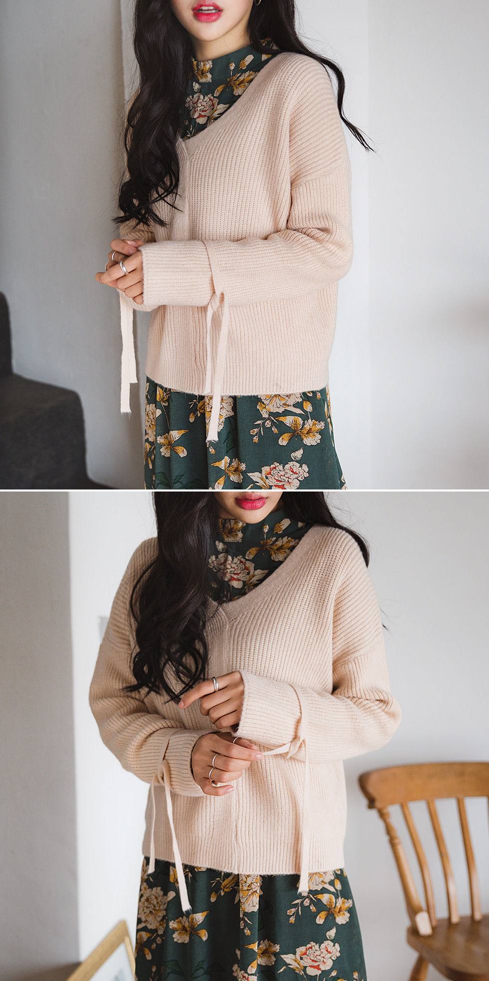 Sleeve Ribbon Wool Knit