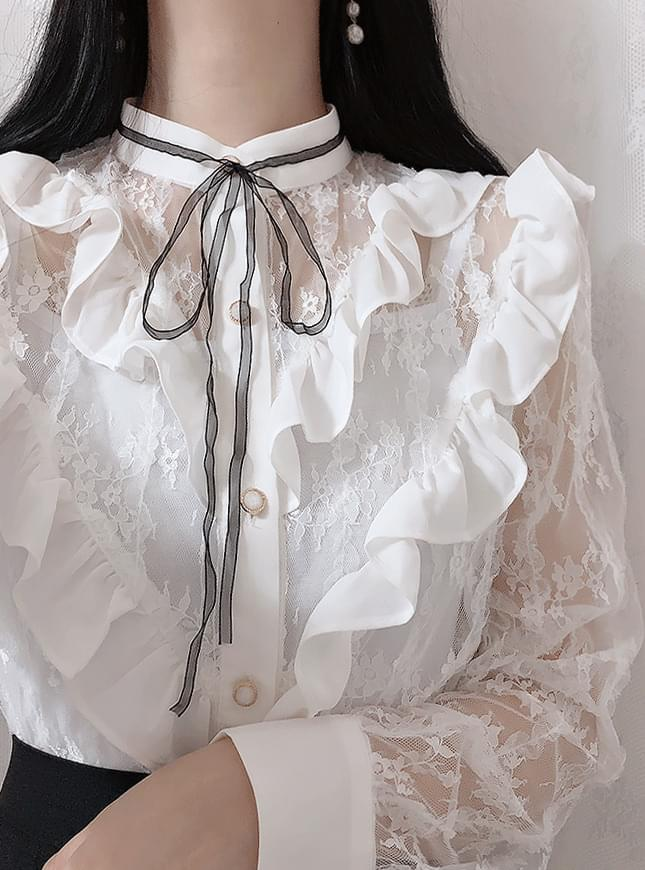 Hepburn see-through lace blouse 襯衫